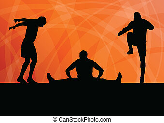 Man stretching exercise warming up vector background for ...