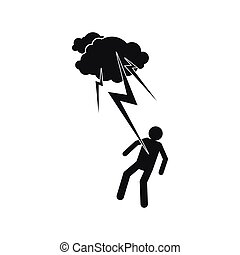 Man struck icon, simple style