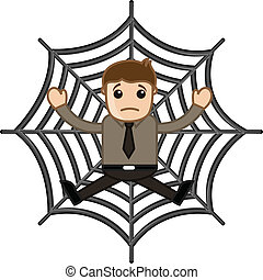 Man Stuck in Spider Web - Drawing Art of Cartoon Businessman...