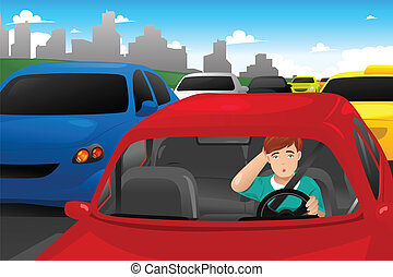 Man stuck in traffic - A vector illustration of man stuck in...