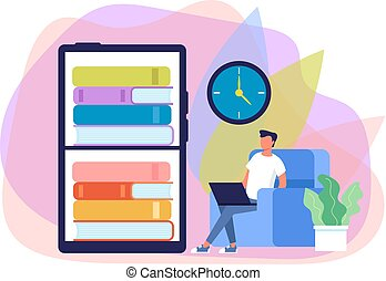 Man student character reading online book. Internet education library concept. Vector flat graphic design cartoon illustration