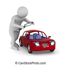 man studies red car on white background. Isolated 3d ...