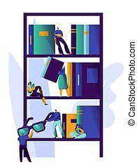 Man Studying Literature at Library Book Shelf. Magazine Bookcase Design Collection. People Relax in Academic Bookshelf at University Bookstore Information Stack. Flat Cartoon Vector Illustration