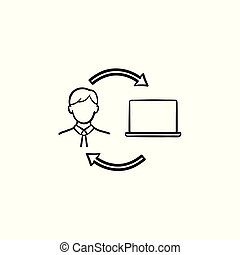 Man studying online on computer hand drawn icon.