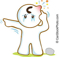 Man sue finger point to his head Pain and swell some one threw stones at the head and cryingart symbol vector cartoon.