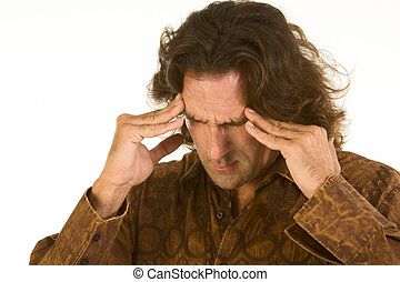 man suffer from terrible headache and depression