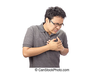 man suffering chest pain on white background