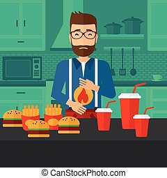 A hipster man with the beard standing in the kitchen in front of table full of junk food and suffering from heartburn vector flat design illustration. Square layout.