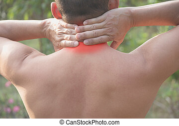 Man suffering from neck pain. Acute pain in a man muscle concept with red spot.
