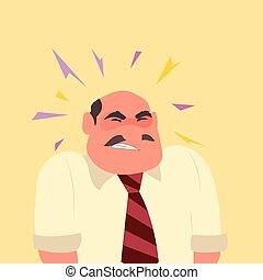 Man suffering headache and migraine in pain