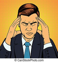Man suffering headache pop art retro vector - Man suffering...