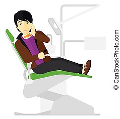 Man suffering in dental chair. - An asian patient sitting in...