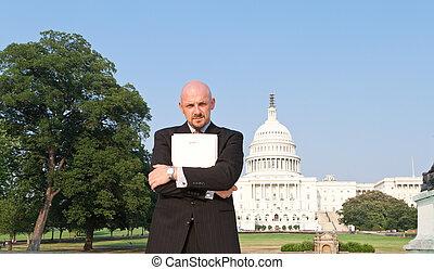 Man Suit Power Broker Secret Folder Washington USA