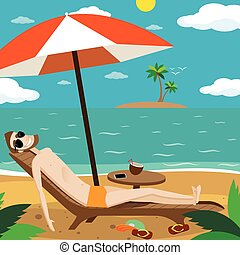 Man sunbathing on the beach - Vector illustration on color...