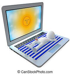 Man sunbathing on top of a laptop