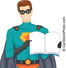 Man Super Hero Book Storytelling - Illustration of a Man...