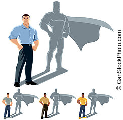 Man Superhero Concept - Conceptual illustration of ordinary...