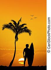 man surfer on exotic island