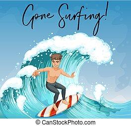 Man surfing in ocean