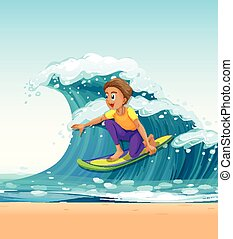 Man surfing on big waves