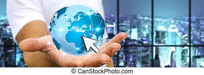 Man surfing on interne - Man holding digital world connected...