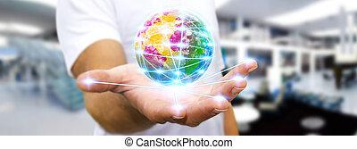 Man surfing on internet - Man holding digital world...