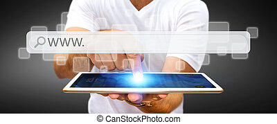 Man surfing on internet with digital tactile web address bar...
