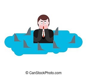 Man surrounded by sharks.  Despair of businessman. Hopeless situation