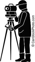 Man surveyor icon, simple style - Man surveyor icon. Simple...