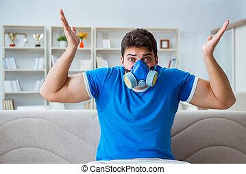 man, svettas, excessively, lukta, dålig, hemma