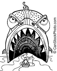 Man Swallowed By Fish cartoon in hand drawn style.