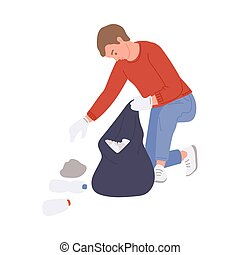 Man swapping trash into a rubbish bag, flat vector illustration isolated on white background. Person busy cleaning a park or garden, volunteering to put city in order.