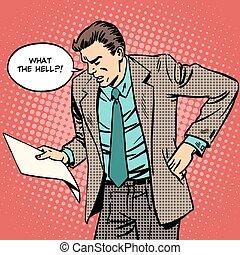 man swears reads paper document letter - The man swears he ...
