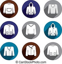 Man sweaters vector icon set.