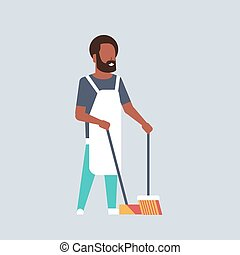 man sweeping floor with broom and scoop african american guy doing housework house cleaning concept male cartoon character full length flat gray background