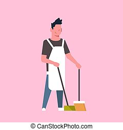 man sweeping floor with broom and scoop guy doing housework house cleaning concept male cartoon character full length flat pink background