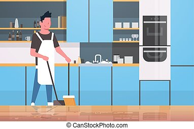 man sweeping floor with broom and scoop young guy doing housework house cleaning concept modern kitchen interior male cartoon character full length flat horizontal