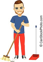 Man Sweeping With Broom