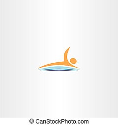 man swim in lake vector icon logo