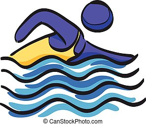 Man swimming icon in color drawing. Athlete triathlon s  sport