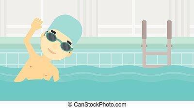 Man swimming in pool vector illustration.