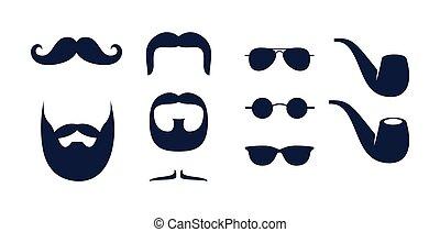 Man symbols and elements set vector, mustache, beard, glasses, pipe.