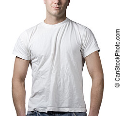man t-shirt - man wearing a clean white t-shirt