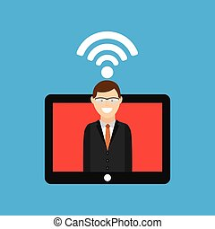 man tablet free wifi icon design