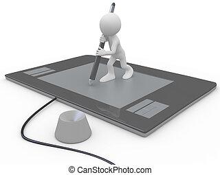 man, tablet, grafiek, reusachtig