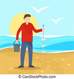 Man take garbage from sea beach background, flat style