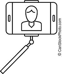 Man take selfie monopod icon, outline style