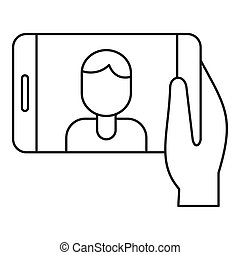 Man take selfie phone icon, outline style