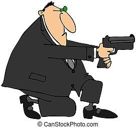 Man taking aim with a gun