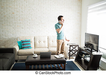 Man taking care of bussiness from home